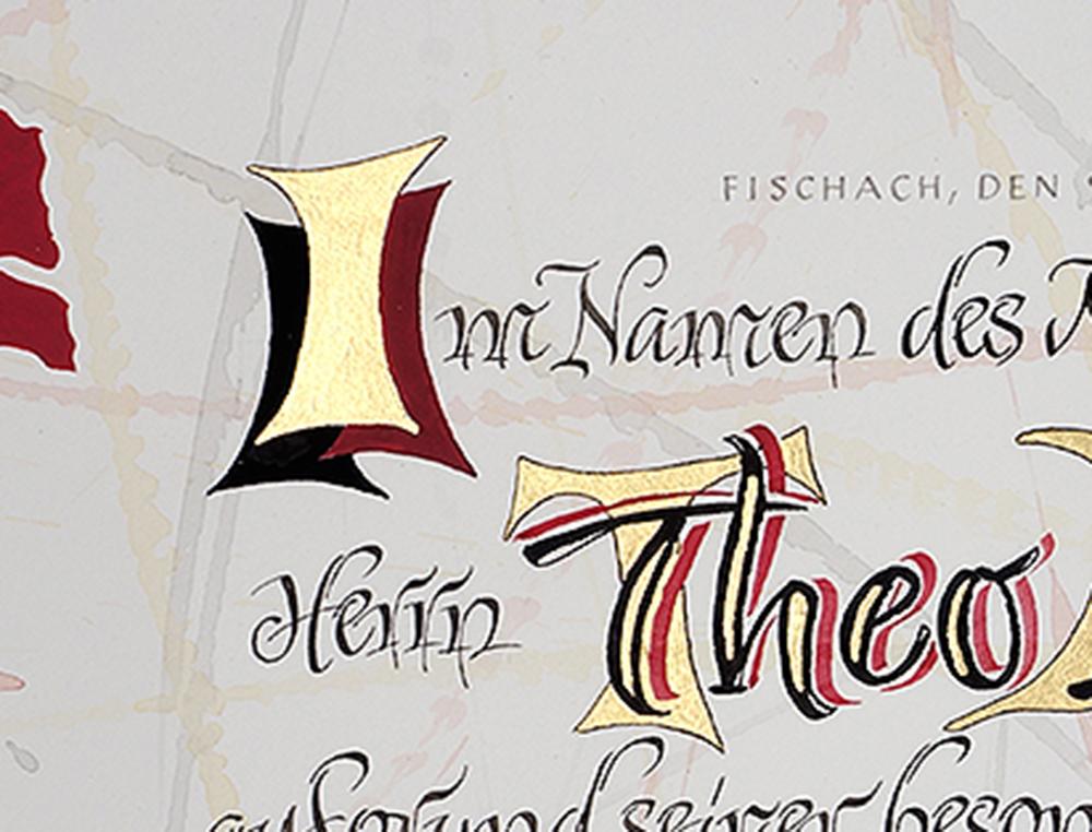 Kalligrafie Theo Initial I