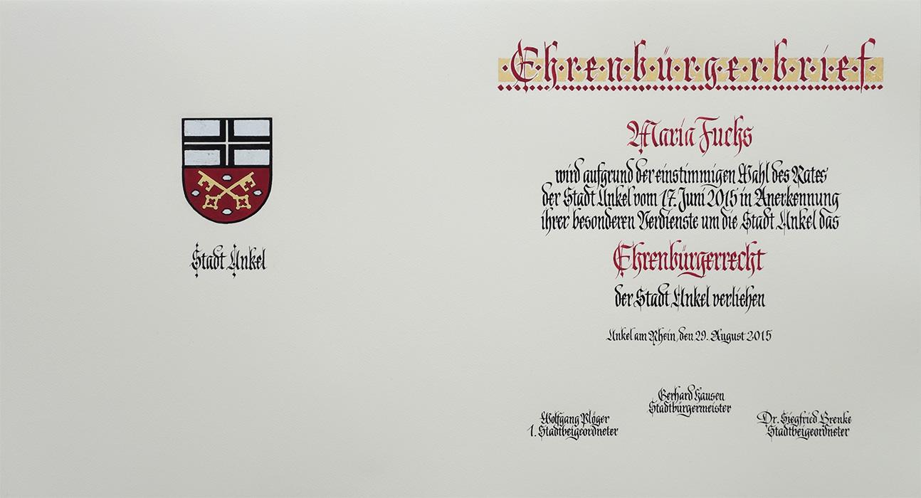 Wappen Stadt Unkel und Urkundentext