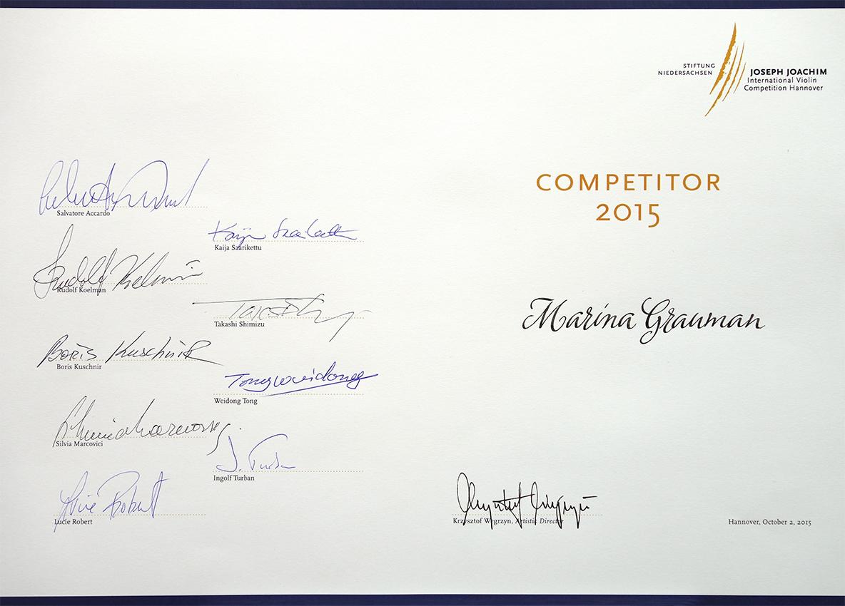 Urkunde Marina Graumann