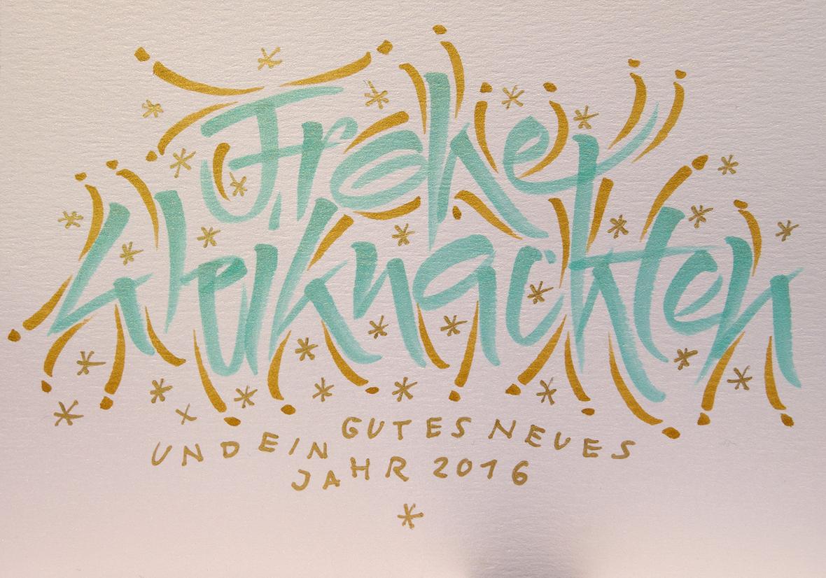 Weihnachtskarte in Türkis und Gold