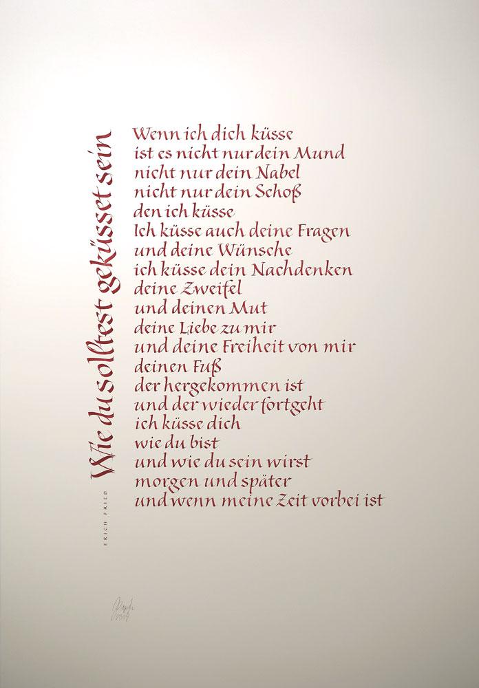 Kalligrafie Propfe Gedicht Zur Hochzeit Von Erich Fried
