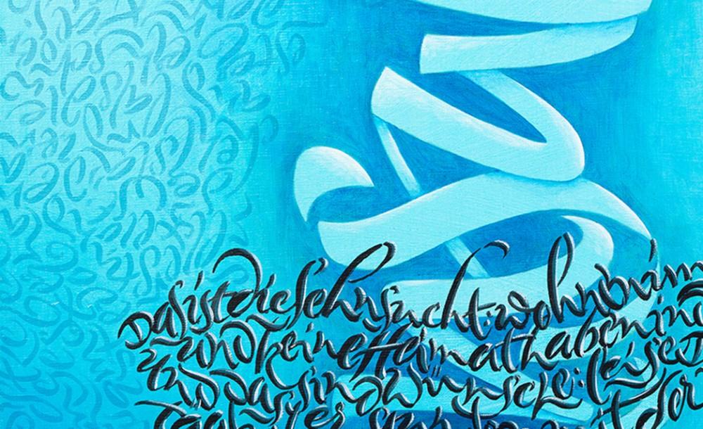 Sehnsuch auf blauem Hintergrund
