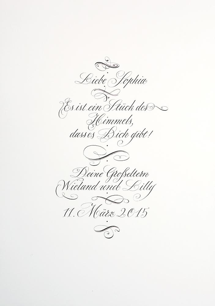 Anglaise Kalligrafie Schwarz und Rot