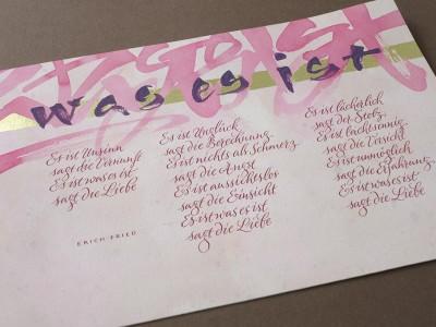Kalligrafieblatt Pink und Rosa