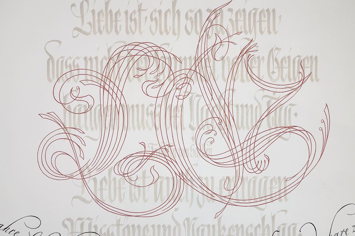 Kalligrafie geschwungene Initialen