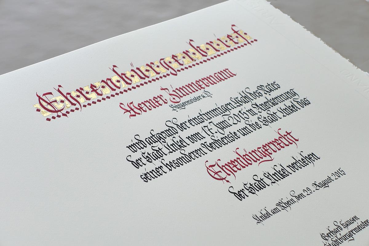 Perspektivansicht Urkunde Stadt Unkel