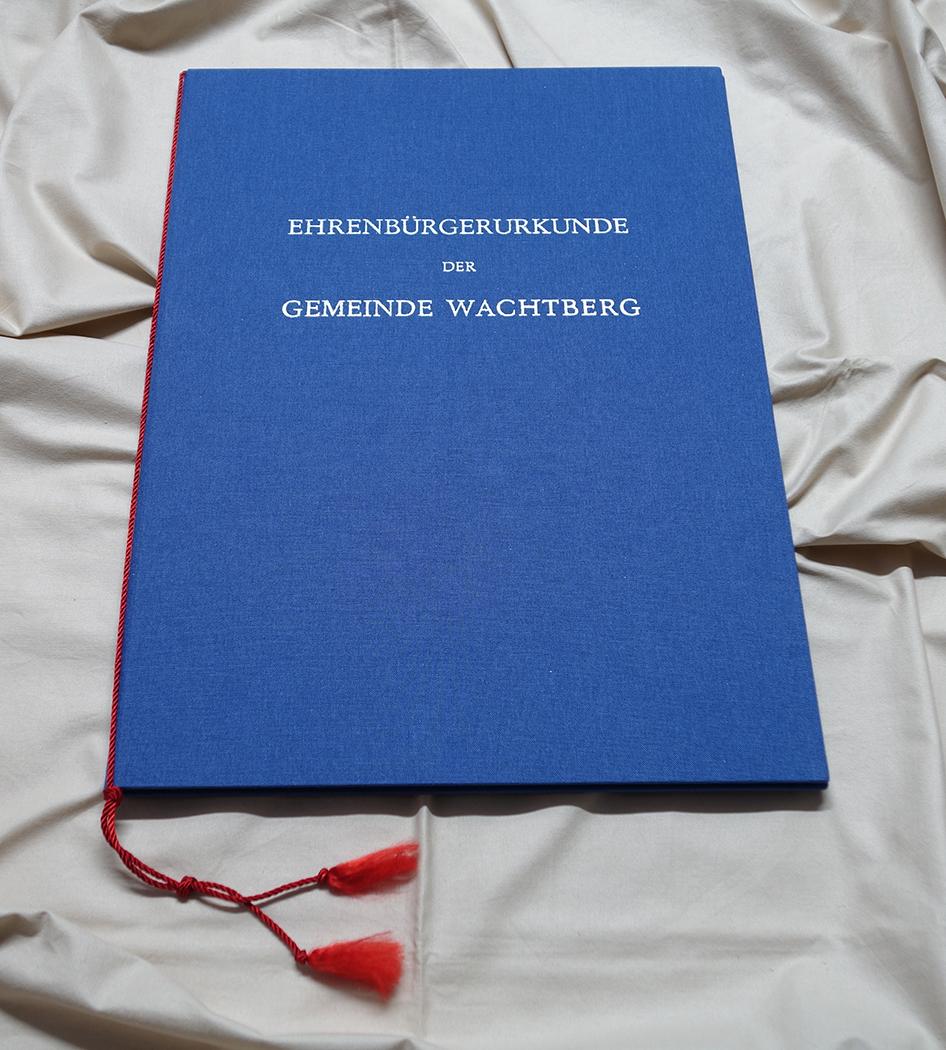 Blauer Einband Urkunde