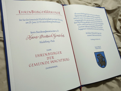 Ehrenbürgerurkunde Innenseiten
