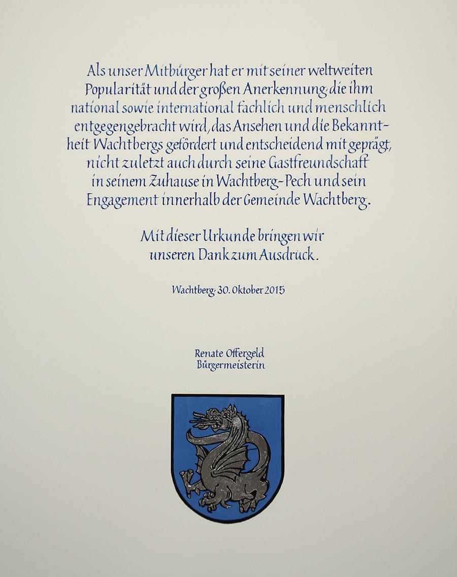 Textseite mit Wappen Wachtberg