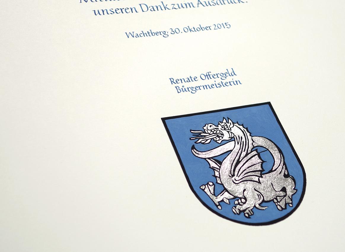 Wappen Wachtberg versilbert