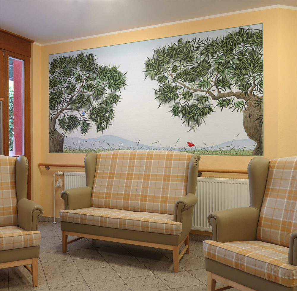 Wandbild mit Olivenbäumen