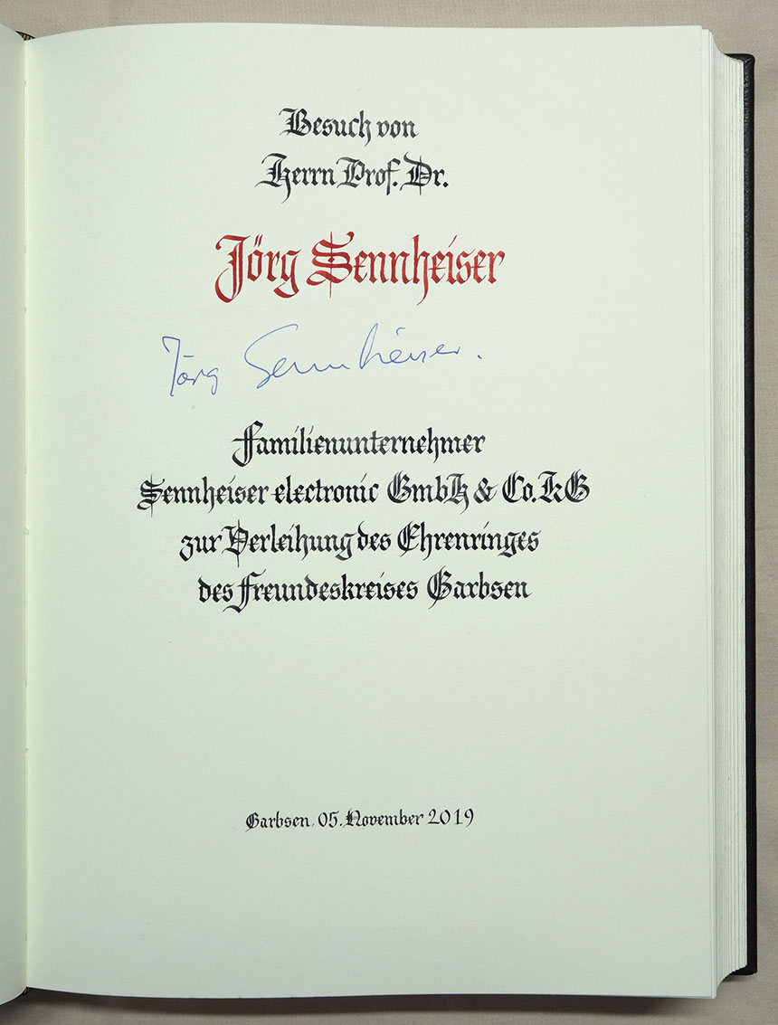 Goldenes Buch Garbsen Eintrag Sennheiser