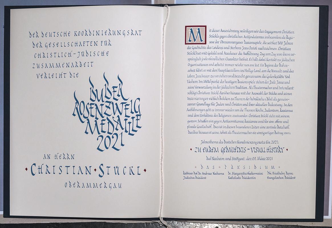 Urkunde Buber-Rosenzweig-Medaille Innenseiten