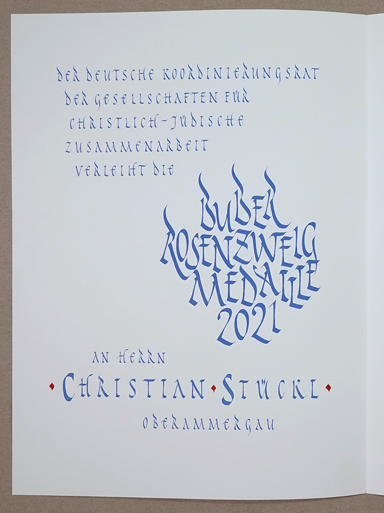 Urkunde, kalligrafiert in Rustika